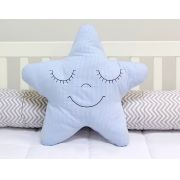 Almofada Estrela - Xadrez Azul