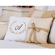 Almofada para decoração com laço - Col. Alfabeto Bege