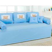 Kit Cama da Babá 08 peças - Col. Ursinho Dorminhoco Azul - 100% Algodão