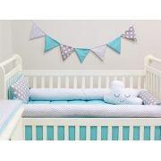 Kit Berço Rolinhos 09 peças Baby Chevron Cinza e Azul Tiffany