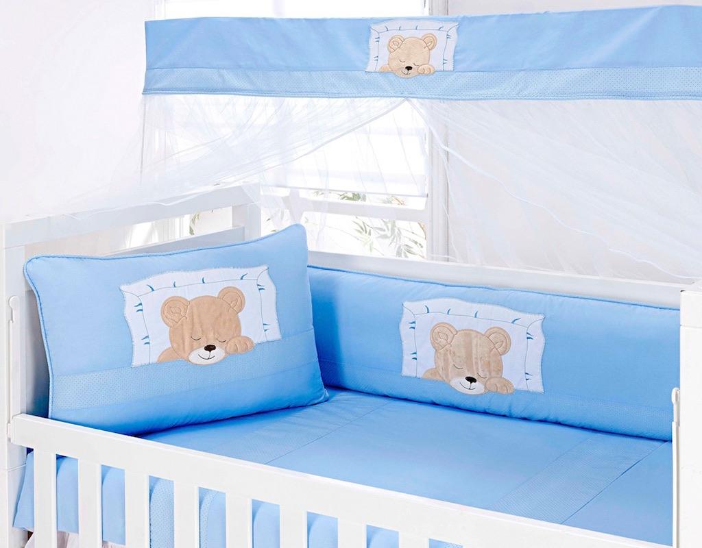 Kit Berço 09 peças Padrão Americano - Col. Ursinho Dorminhoco Azul - 100% Algodão