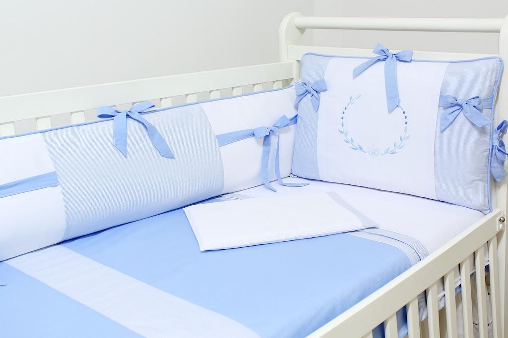 Kit Berço 09 peças com Mosquiteiro - Col. Alfabeto Azul - 100% Algodão