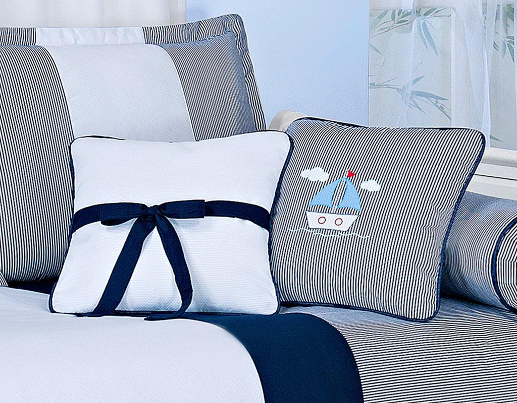 Almofada para decoração bordada - Col. Marítimo