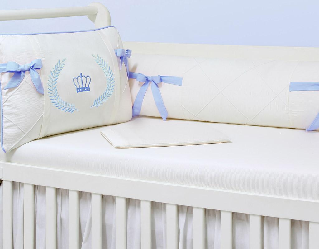 Kit Berço 09 peças com Mosquiteiro Majestade Azul 100% Algodão