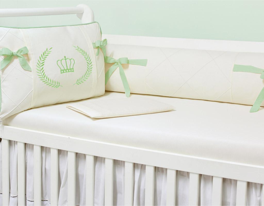 Kit Berço 09 peças com Mosquiteiro Majestade Verde 100% Algodão