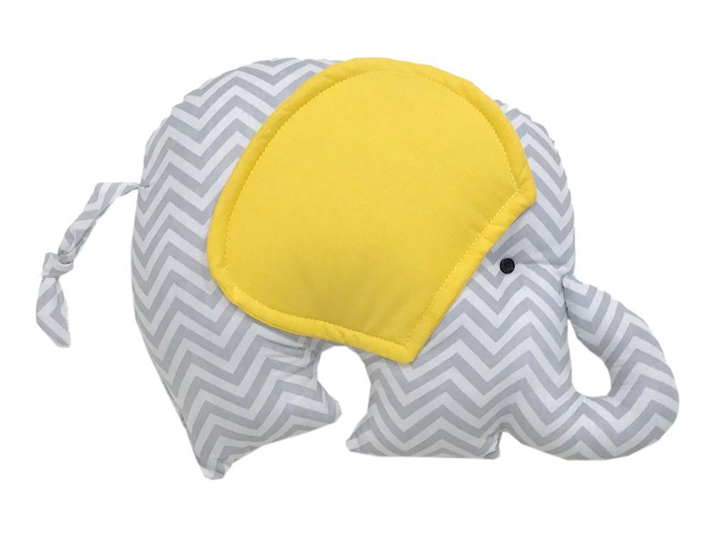 Almofada Elefante - Chevron Cinza e Amarelo