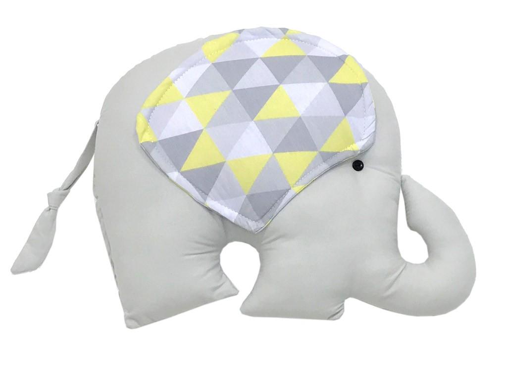 Almofada Elefante Triângulos Cinza e Amarelo
