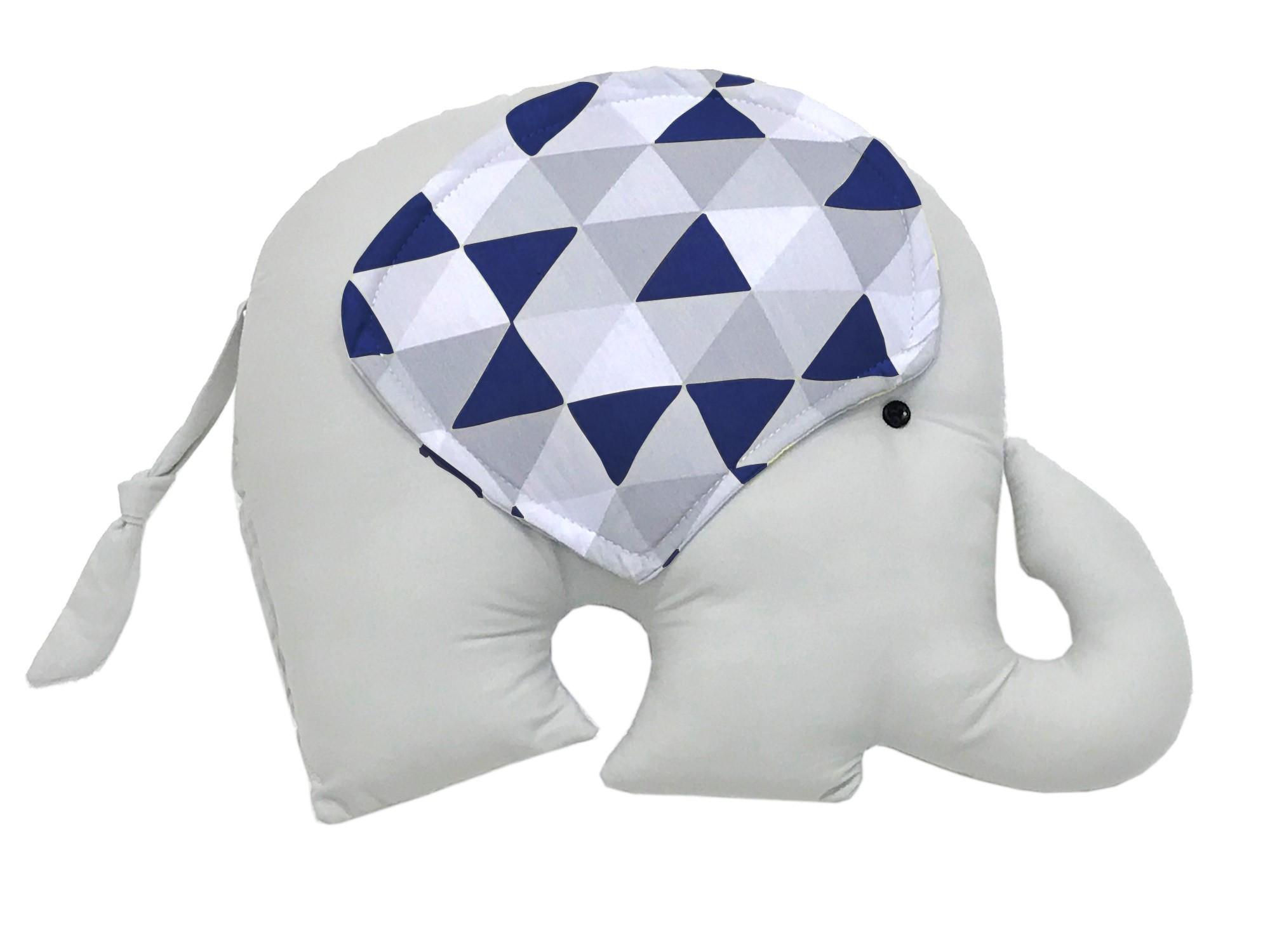Almofada Elefante Triângulos Cinza e Marinho