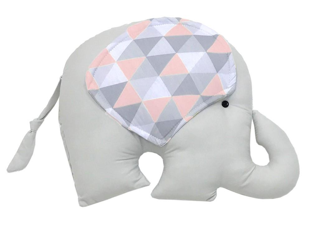 Almofada Elefante Triângulos Cinza e Rosa