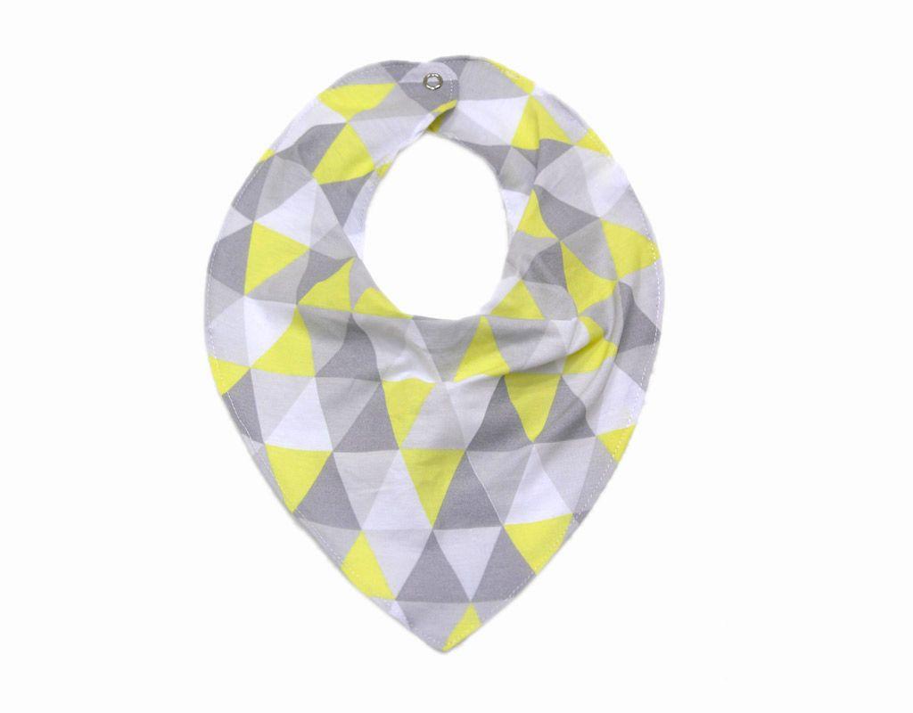 Babador Bandana Triângulos Cinza e Amarelo