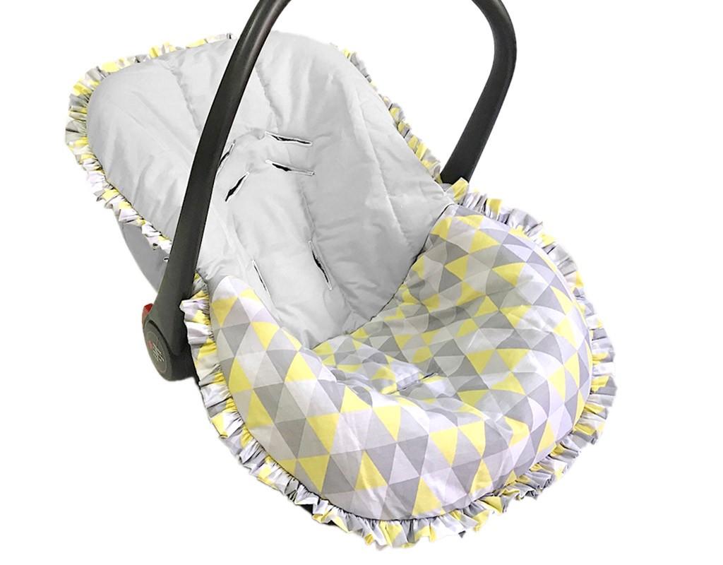 Capa para Bebê Conforto Triângulo Cinza e Amarelo