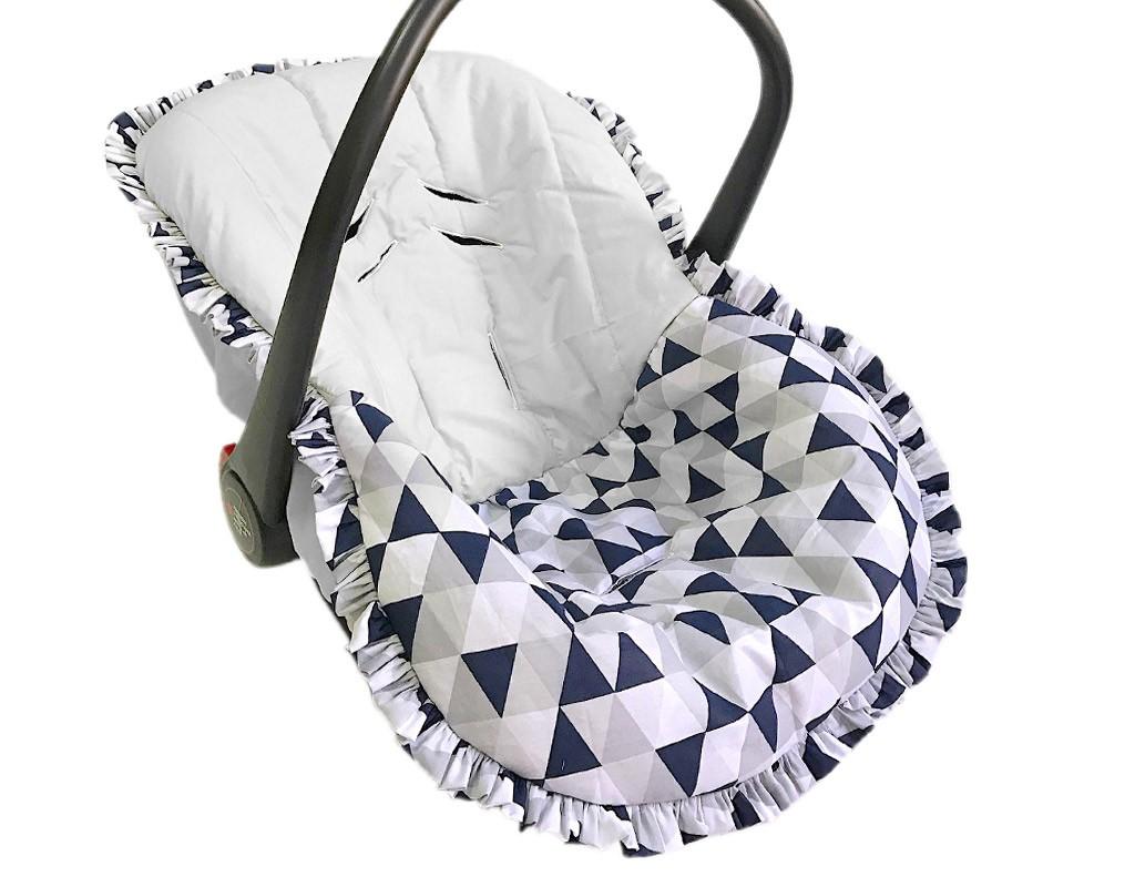 Capa para Bebê Conforto Triângulo Cinza e Marinho