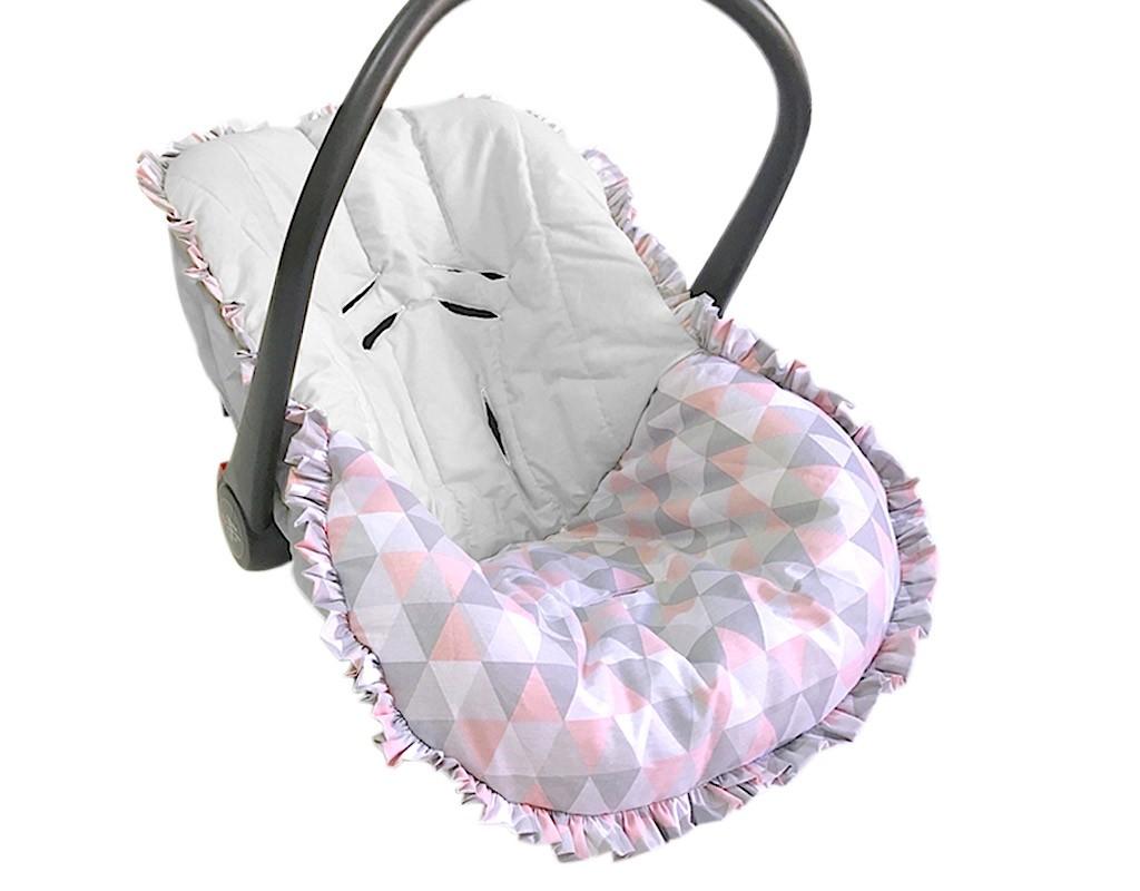 Capa para Bebê Conforto Triângulo Cinza e Rosa