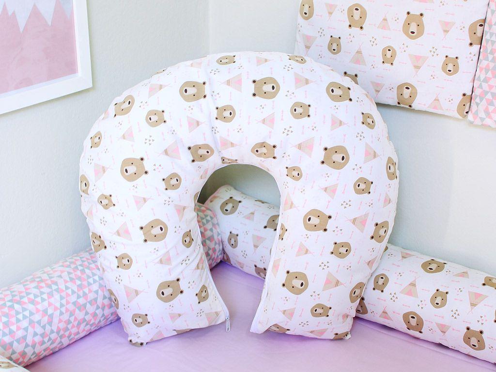Almofada para Amamentação Urso Rosa