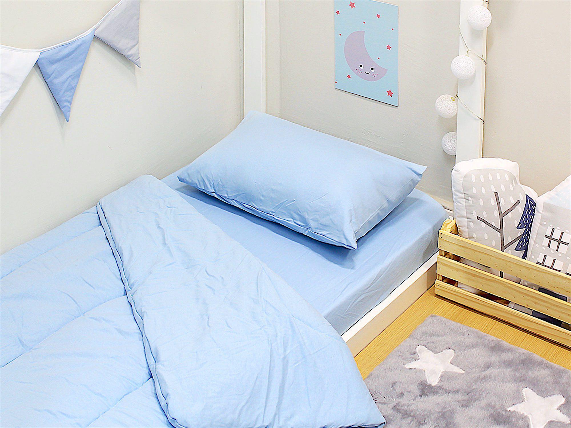 Edredom para Mini Cama Dupla Face Malha Azul
