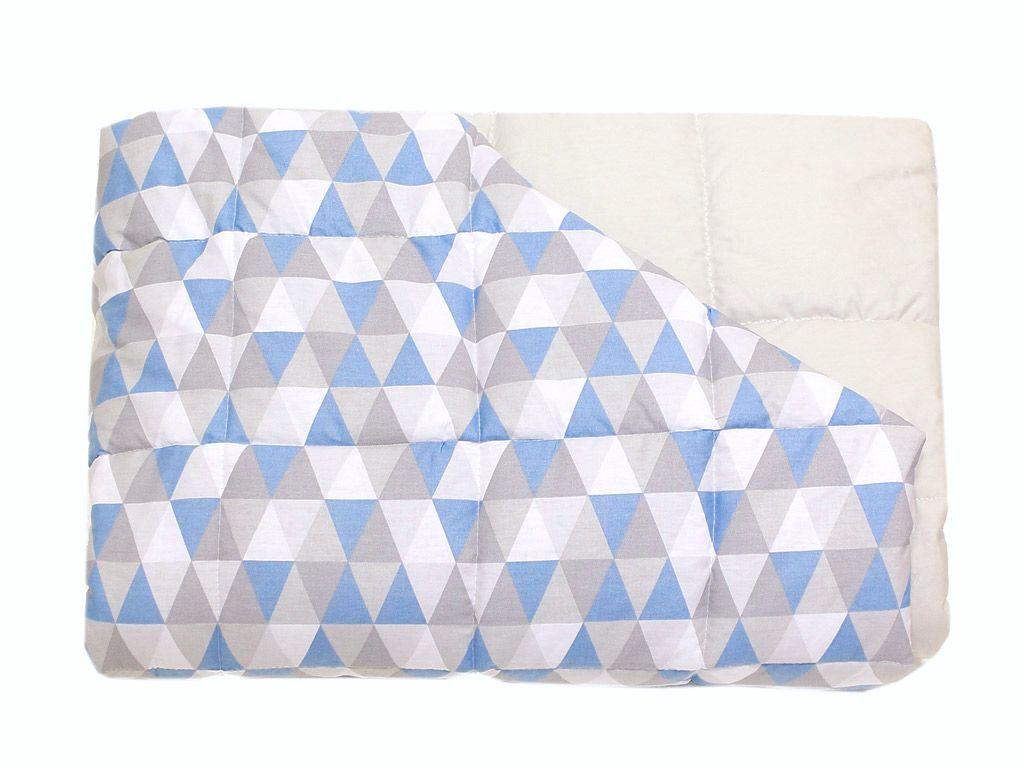 Edredom para Mini Cama Dupla Face Triângulo Cinza e Azul