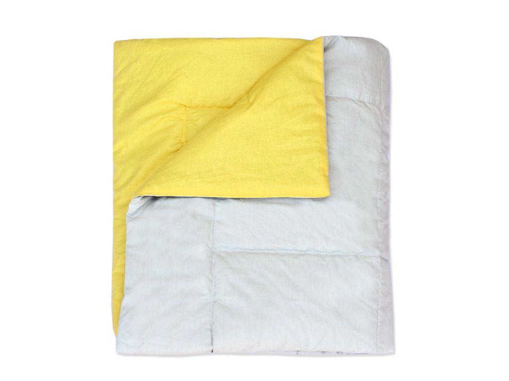 Edredom para Mini Cama Dupla Face Cinza e Amarelo