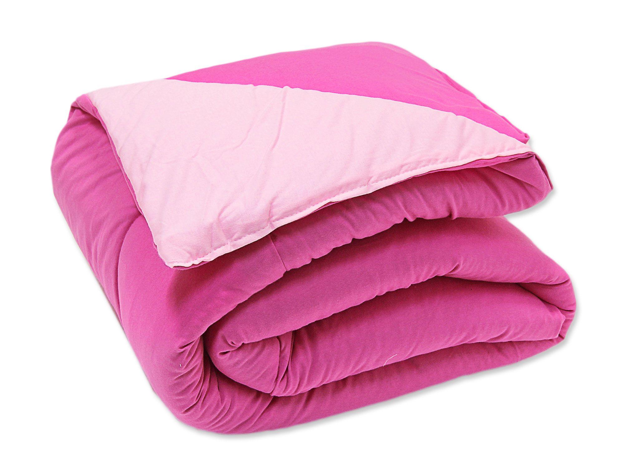 Edredom Solteiro Dupla Face Malha Pink e Rosa
