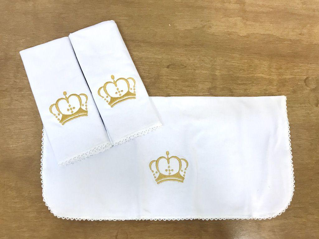 Jogo de toalha de boca em Malha Coroa Dourada