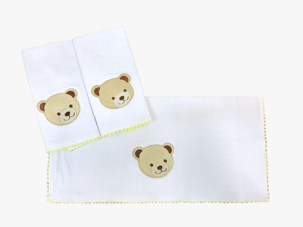 Jogo de toalha de boca em Malha Urso Amarelo