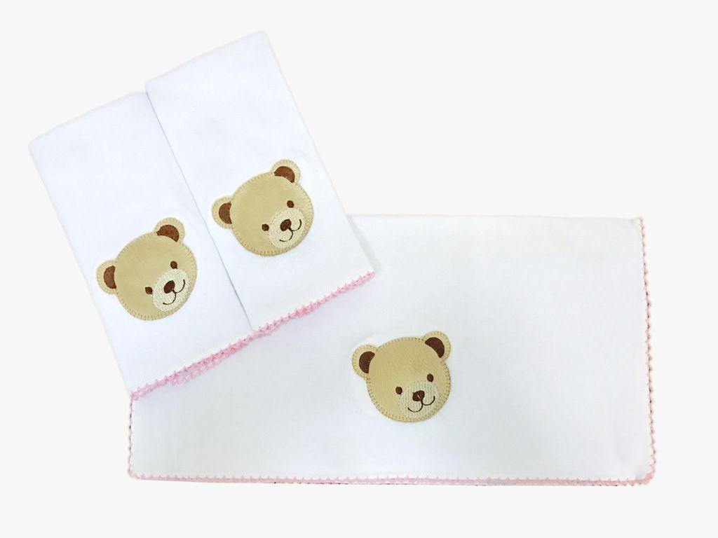 Jogo de toalha de boca em Malha Urso Rosa