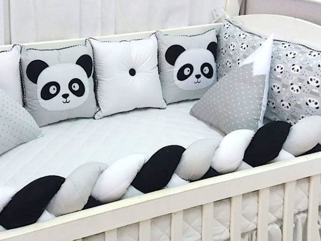 Kit Berço 6 peças Panda Preto e Branco
