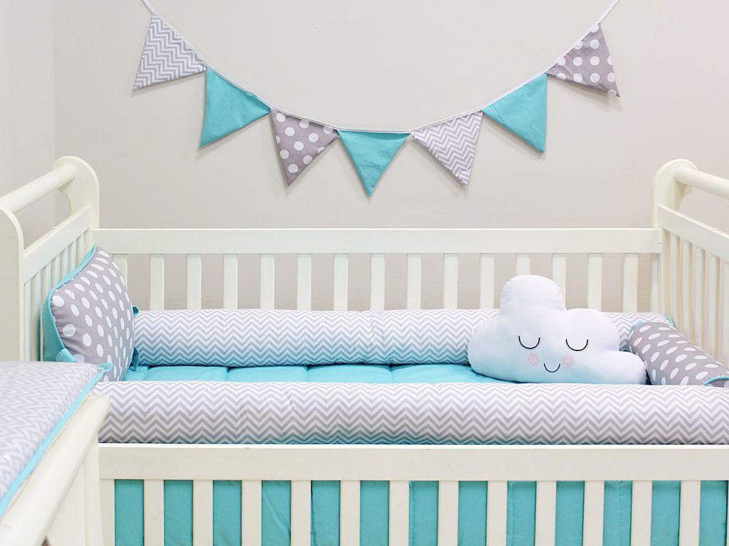 Kit Berço Rolinhos 05 peças Baby Chevron Cinza e Azul Tiffany