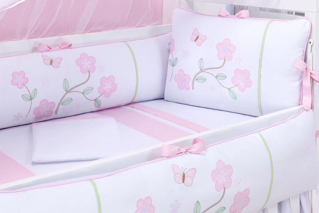 Kit Berço Rolinhos + Kit Cama da Babá - Cia das Flores Rosa