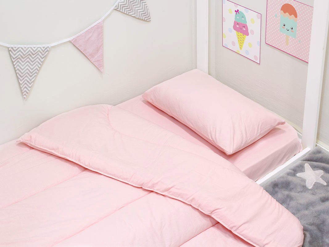 Kit Edredom Lençol e Travesseiro Mini Cama 4 peças Rosa