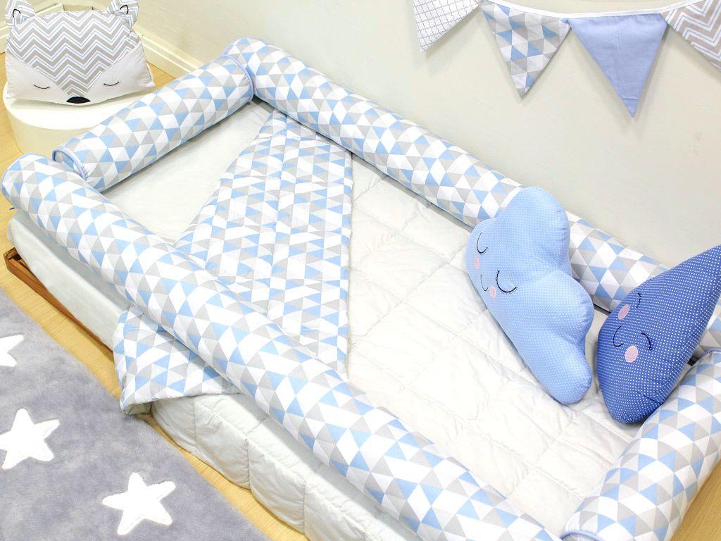 Kit Montessoriano Solteiro Rolinho 04 peças Triângulo Cinza e Azul