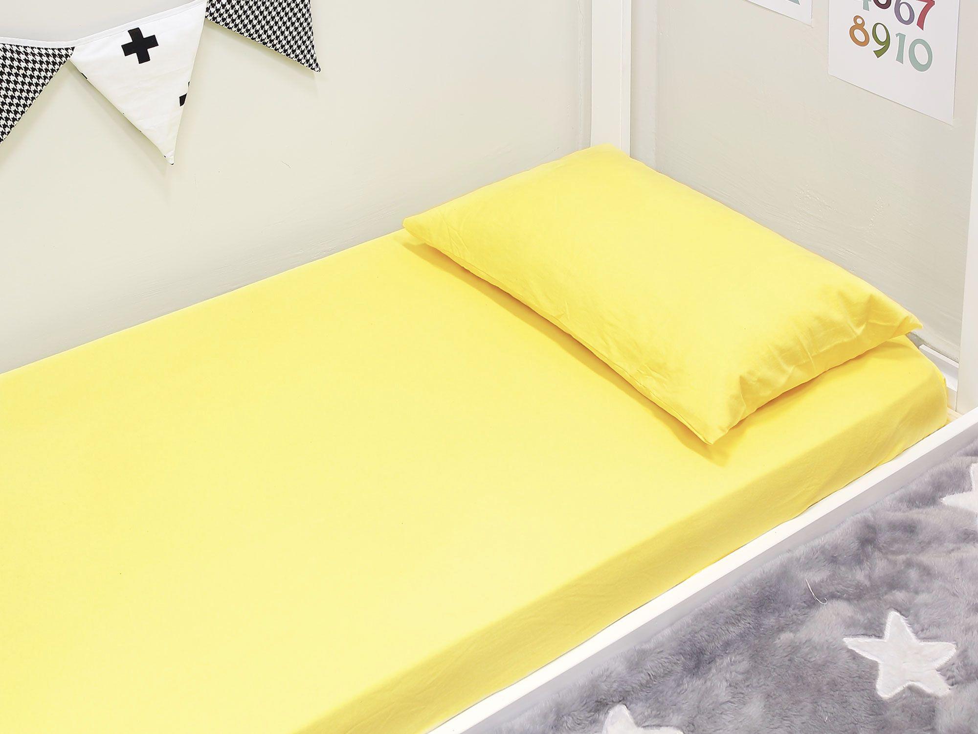 Lençol Mini Cama 2 peças Malha Penteada Amarelo