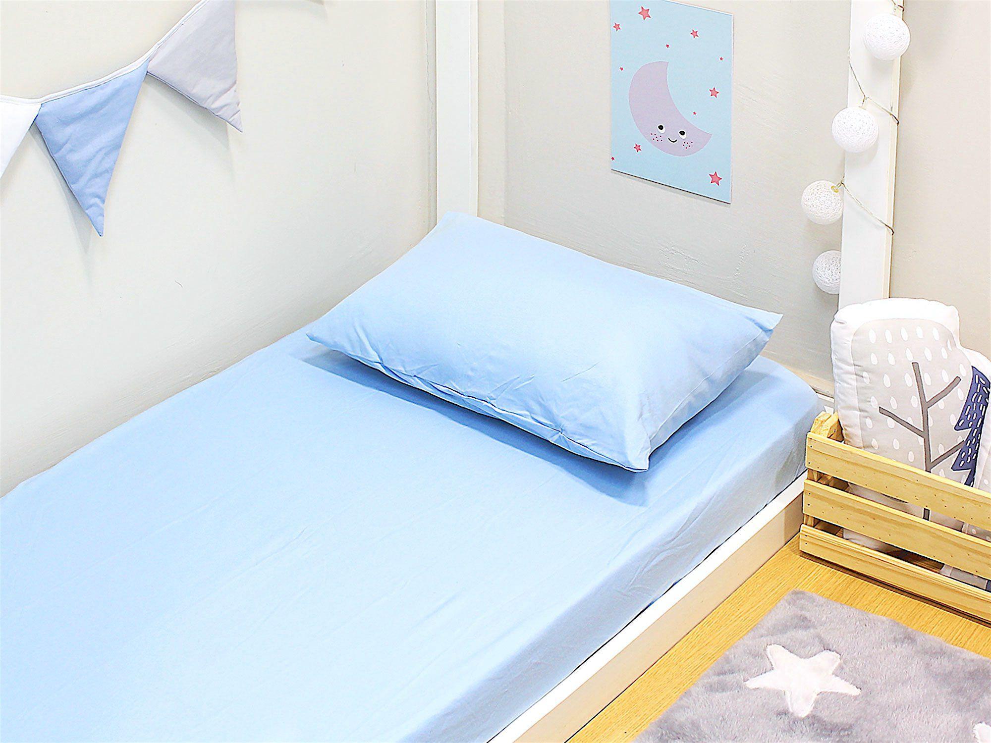 Lençol Mini Cama 2 peças Malha Penteada Azul
