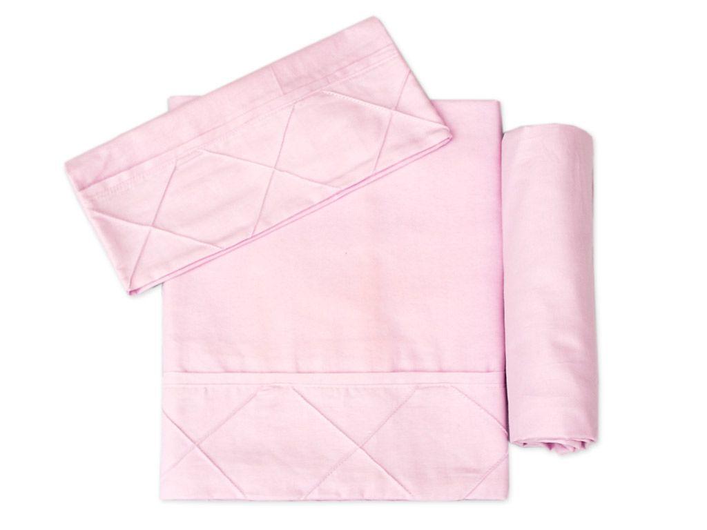 Lençol para Mini Cama 3 peças 100 % Algodão Rosa