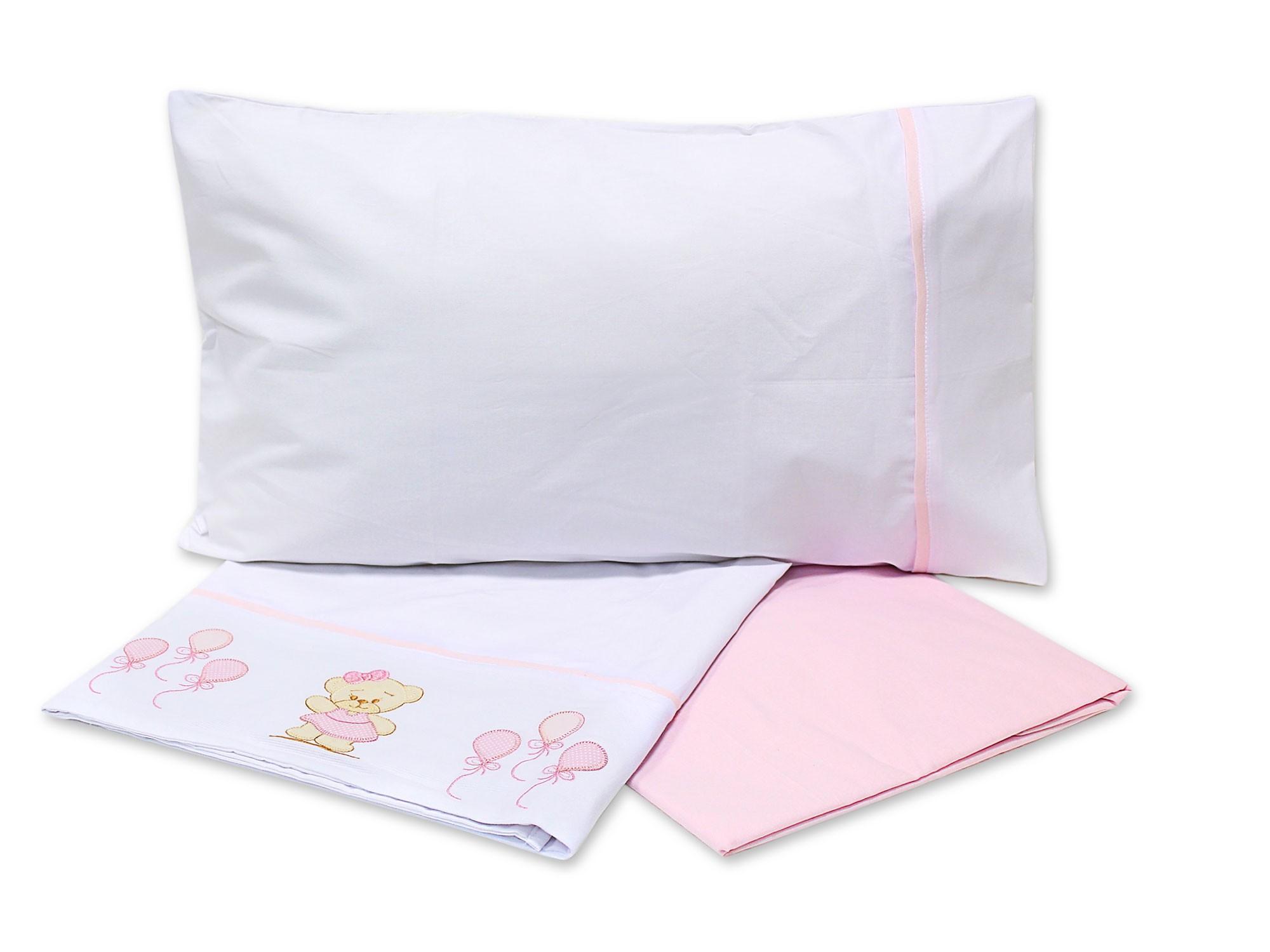 Lençol Para Mini Cama 3 Peças 100% Algodão Ursinho Rosa