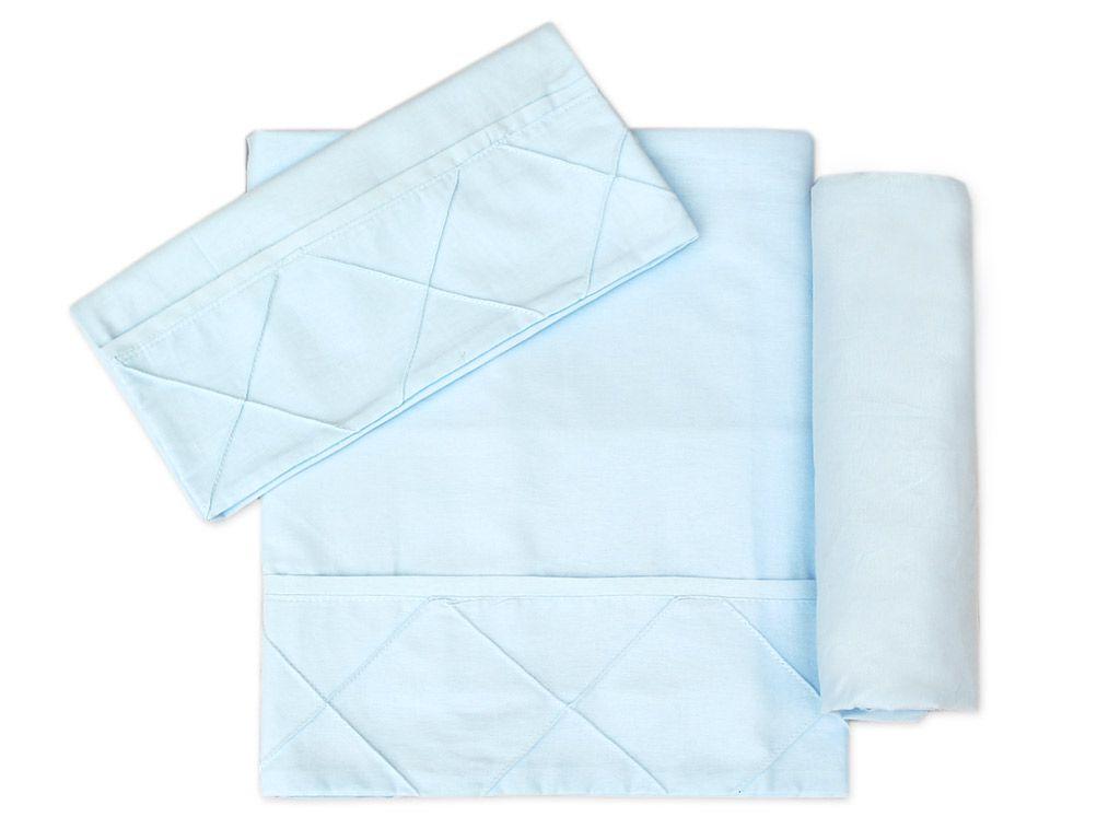 Lençol para Mini Cama 3 peças 100 % Algodão Azul