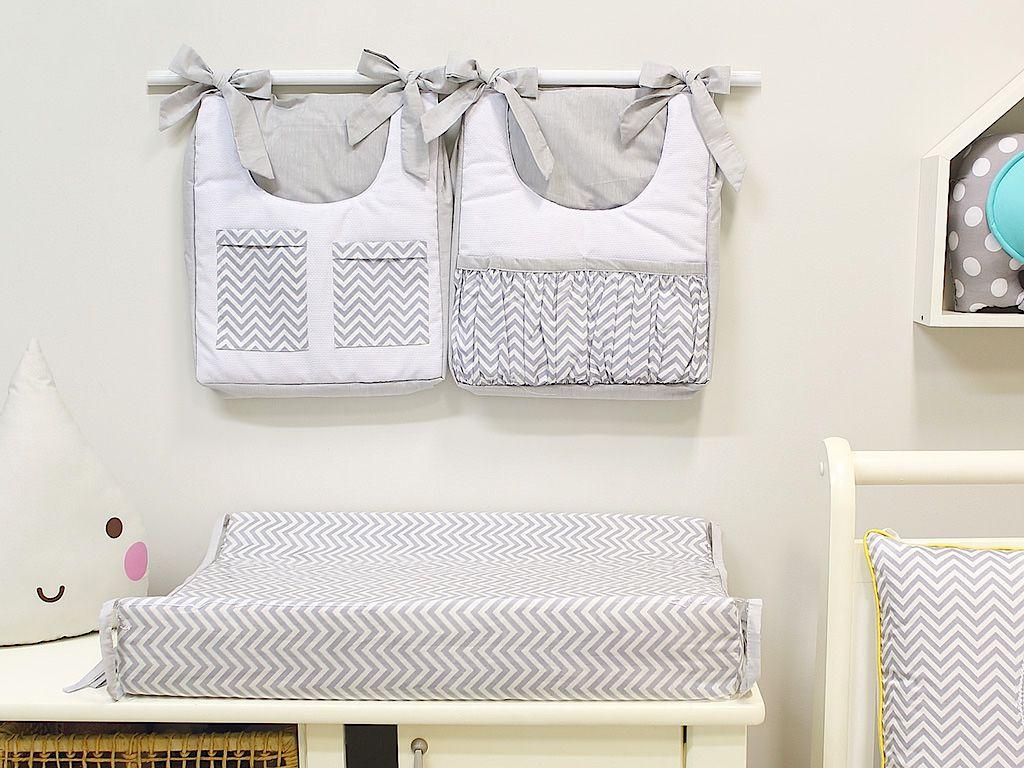 Porta Fraldas para Bebê 2 peças Chevron Cinza