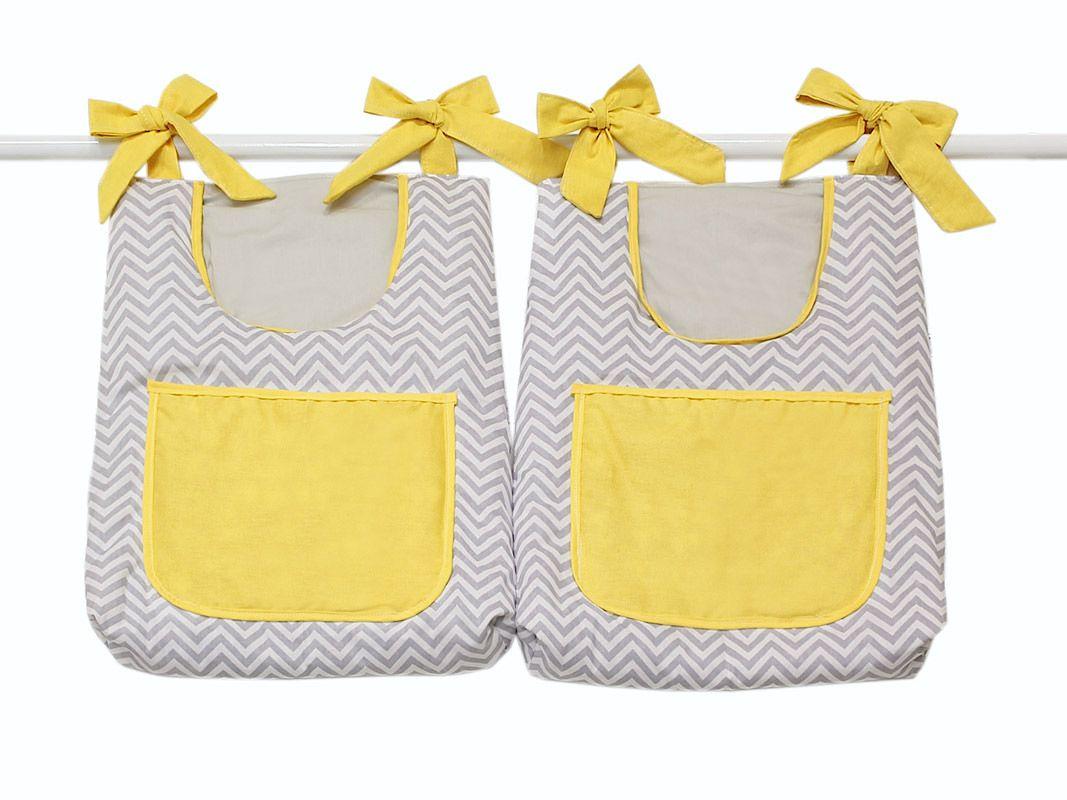 Porta Fraldas para Bebê 2 peças - Col. Baby Chevron Cinza e Amarelo