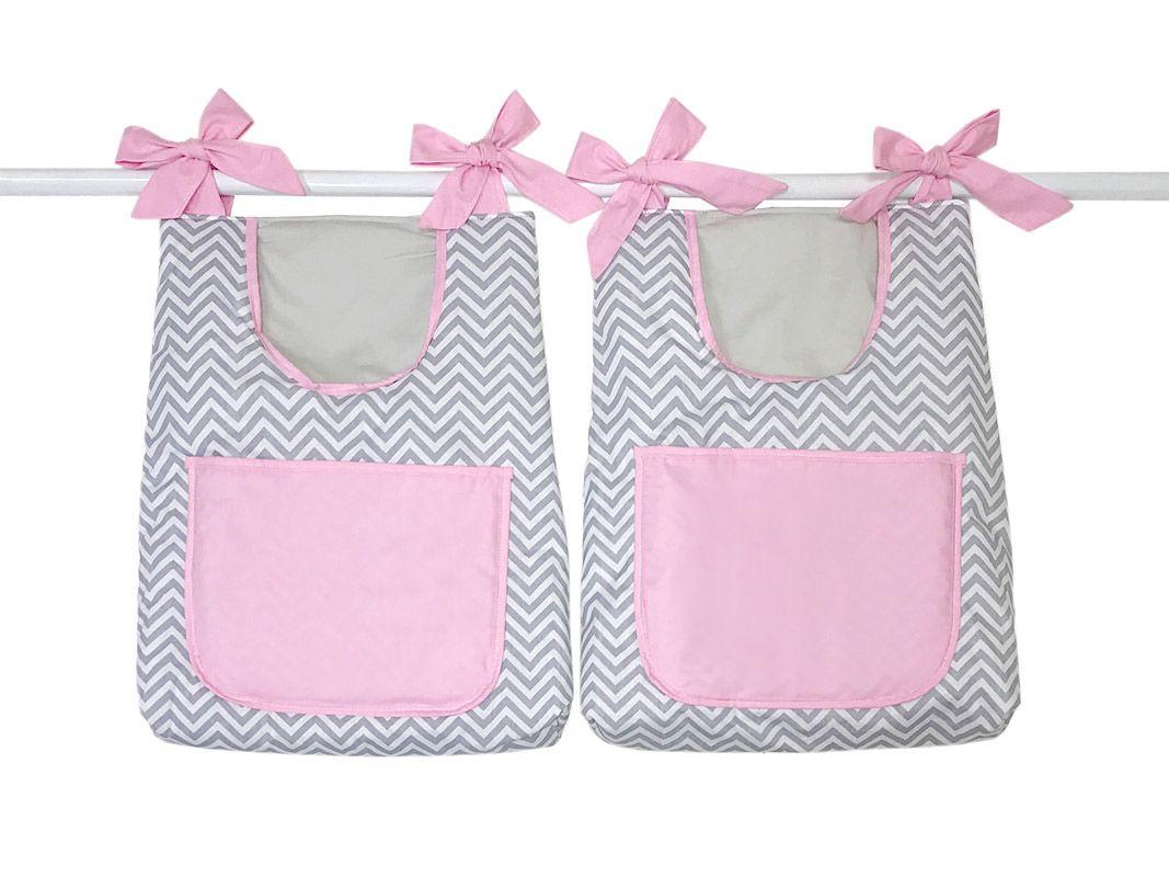 Porta Fraldas para Bebê 2 peças Baby Chevron Cinza e Rosa