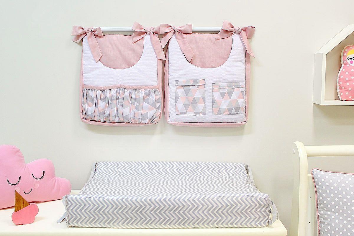 Porta Fraldas para Bebê 2 peças Triângulo Cinza e Rosa