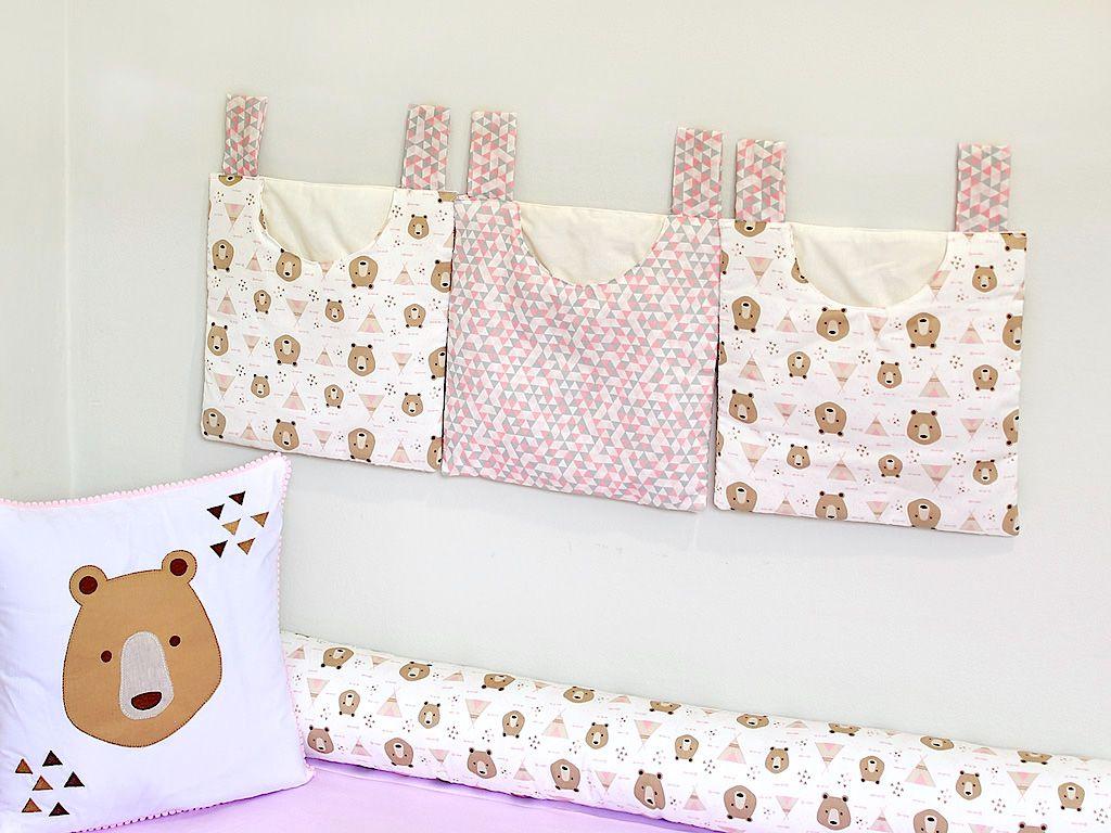 Porta Fraldas para Bebê 3 peças Urso Rosa