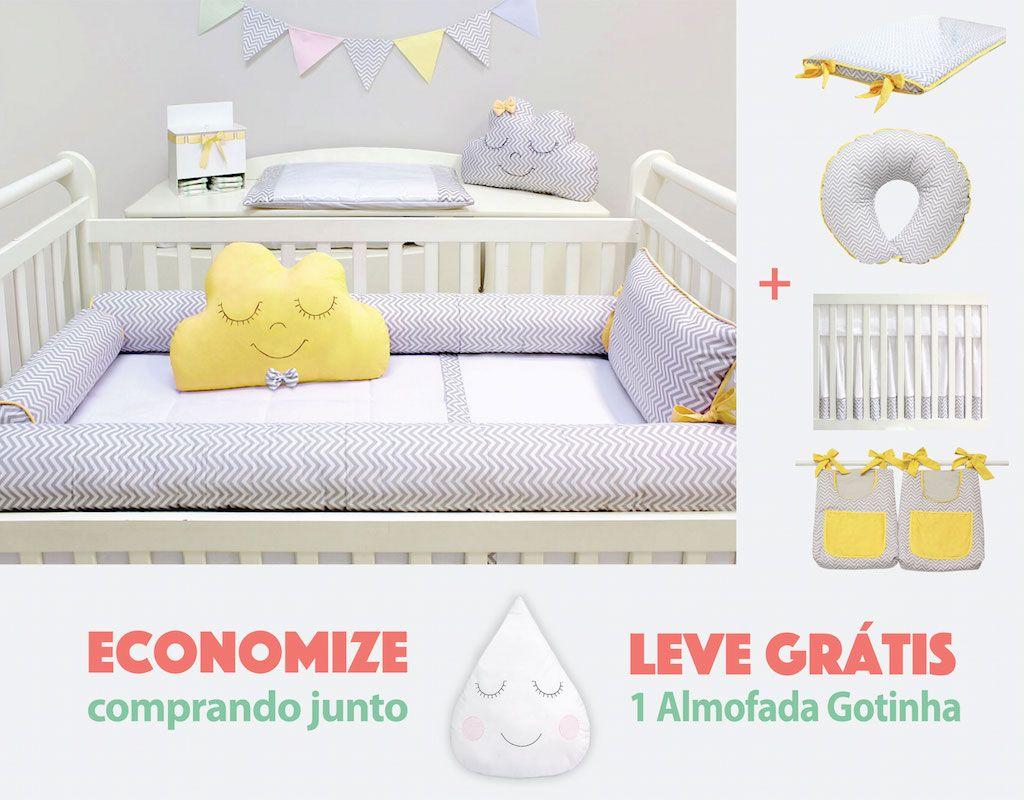 Quarto Baby Chevron Cinza e Amarelo - 15 peças