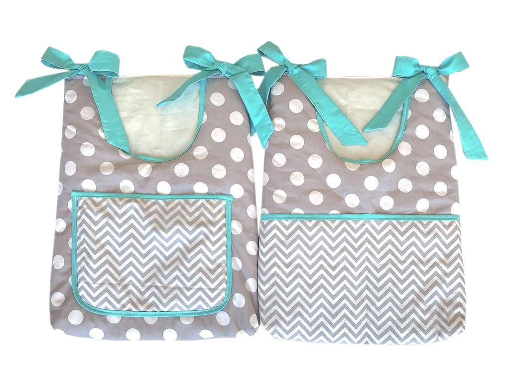 Quarto Baby Chevron Cinza e Tiffany - 15 peças