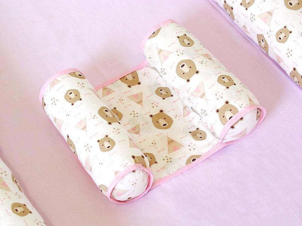 Rolinho Protetor Segura Bebê Urso Rosa