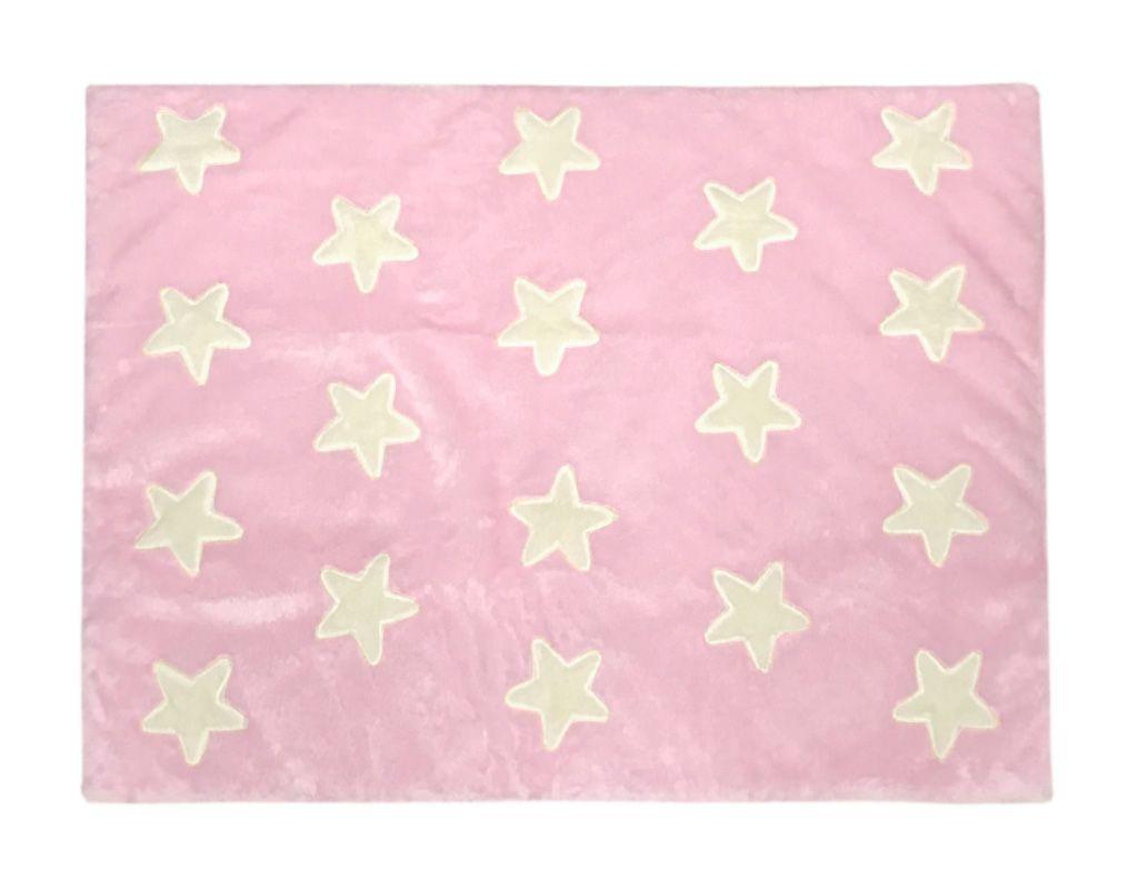 Tapete de Pelúcia Estrelas Rosa e Palha (1,20 x 0,90m)