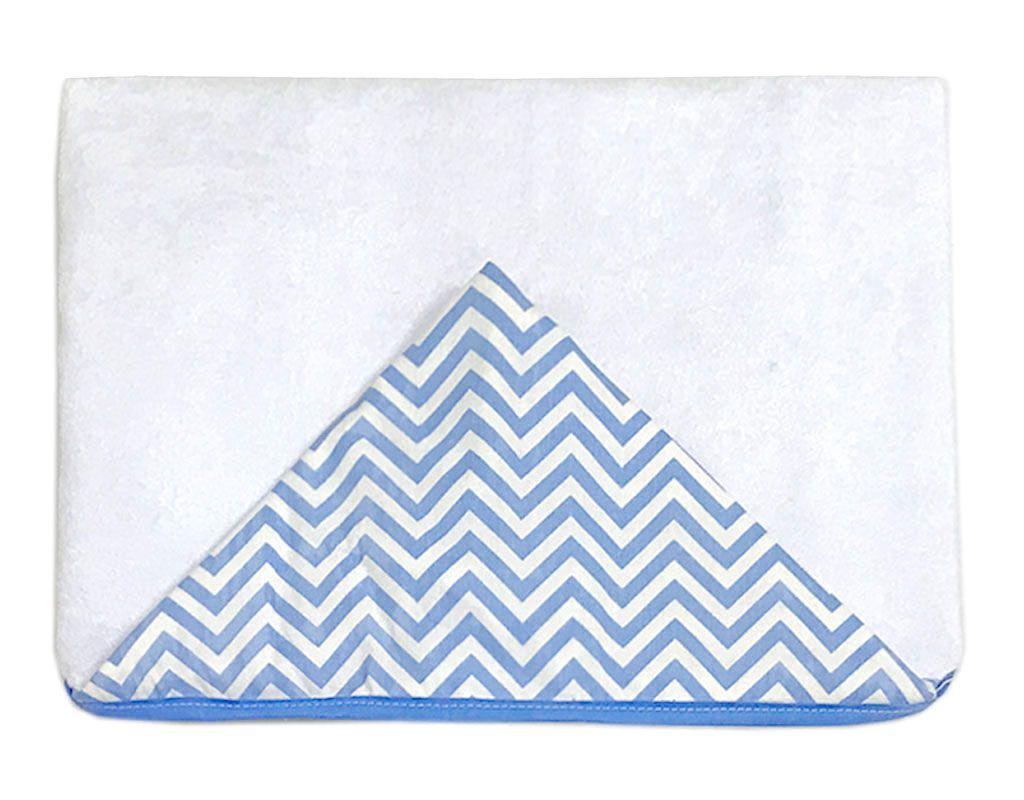 Toalha de Banho com Capuz Chevron Azul