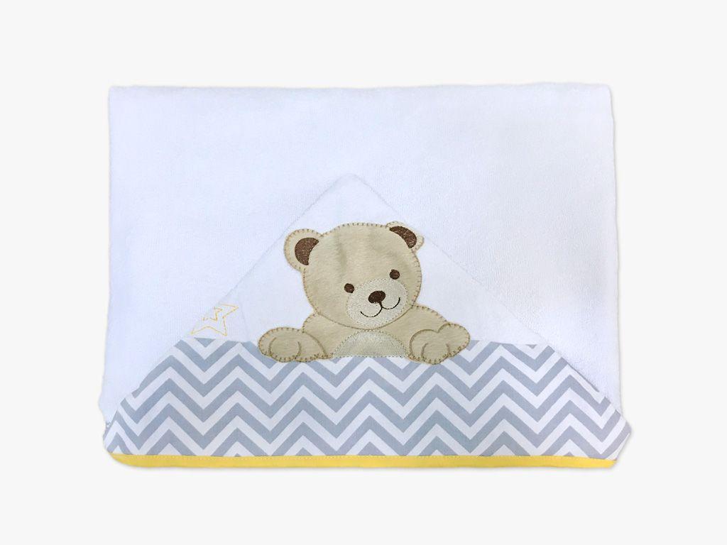 Toalha de Banho com Capuz Urso Cinza e Amarelo