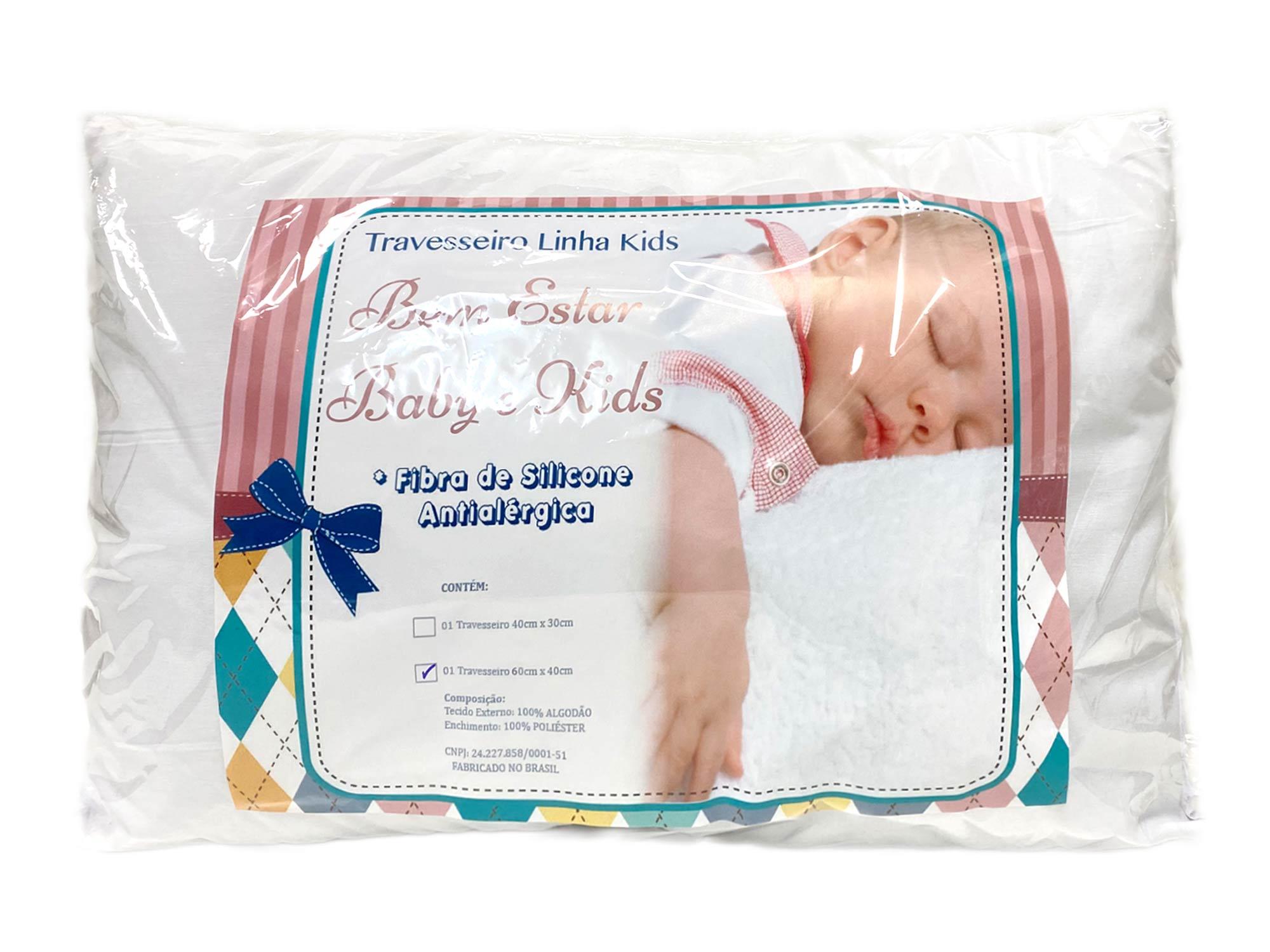 Travesseiro para Mini Cama com Enchimento de Silicone - Revestido com Tecido 100% Algodão