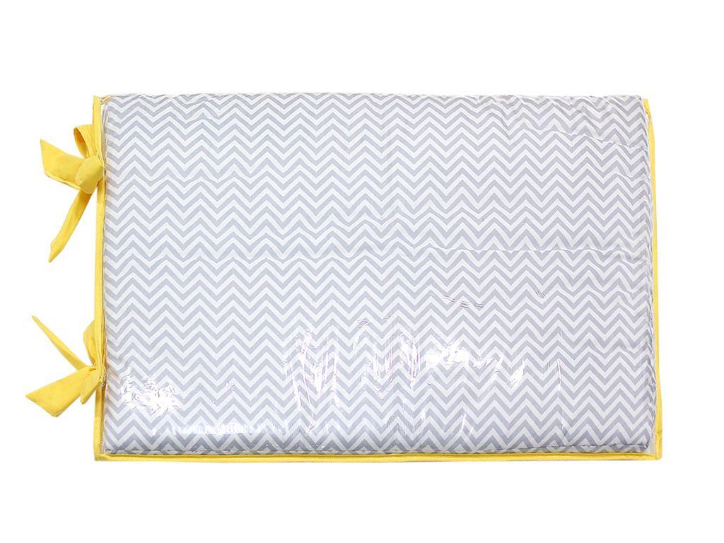 Trocador Espuma 4cm Chevron Cinza e Amarelo