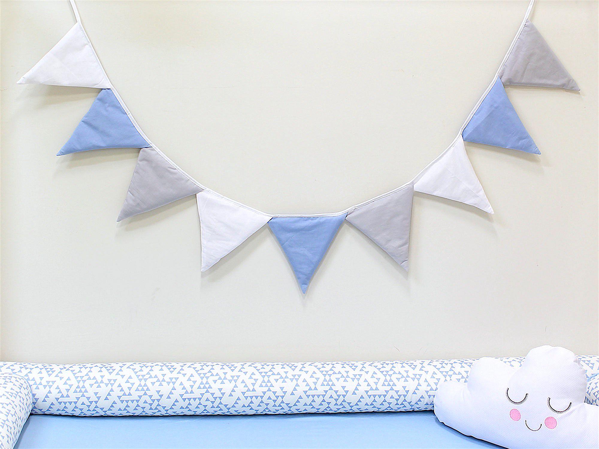 Varal de Bandeirinhas Azul Cinza Branco