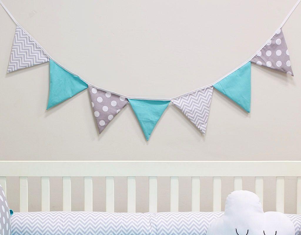 Varal de Bandeirinhas Azul Tiffany e Cinza